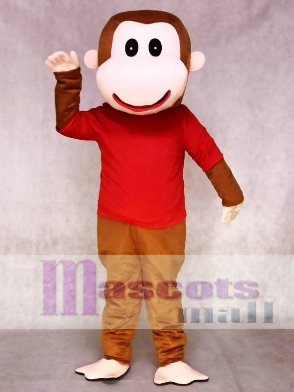 Happy Monkey in Red Shirt Mascot Costume