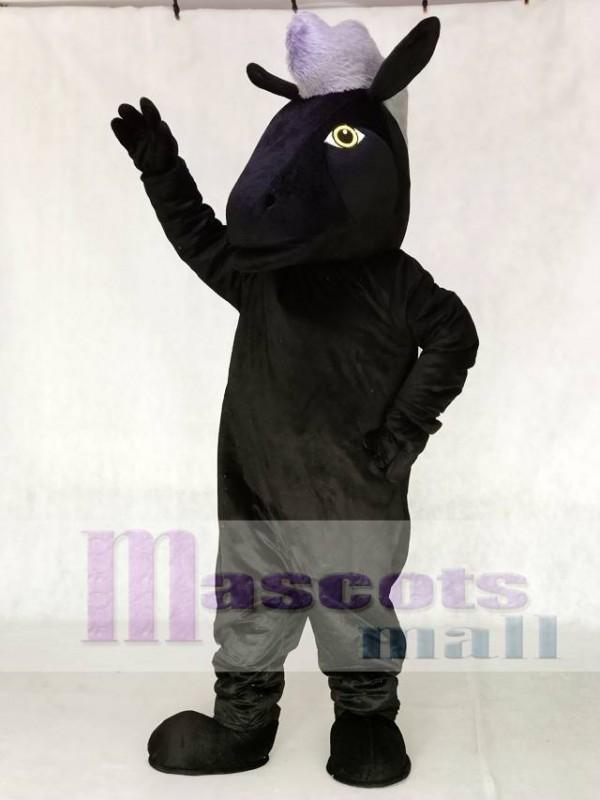 Cute Black Mustang Horse Mascot Costume Animal