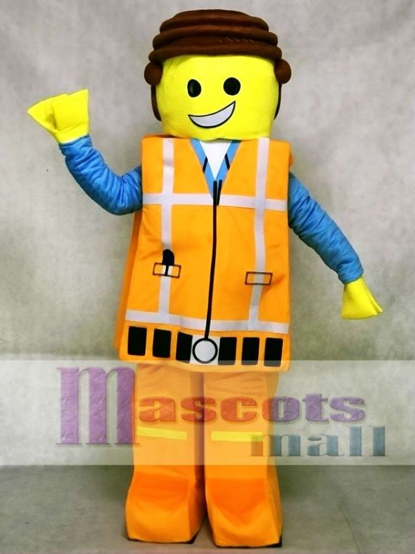 Orange Lego Building Block Figurine Mascot Costume