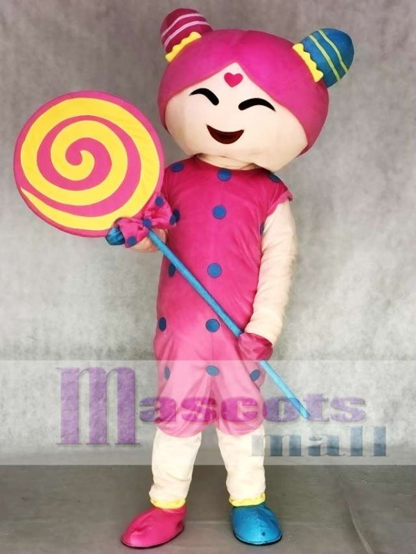 Pink Candy Girl Adult Mascot Costume