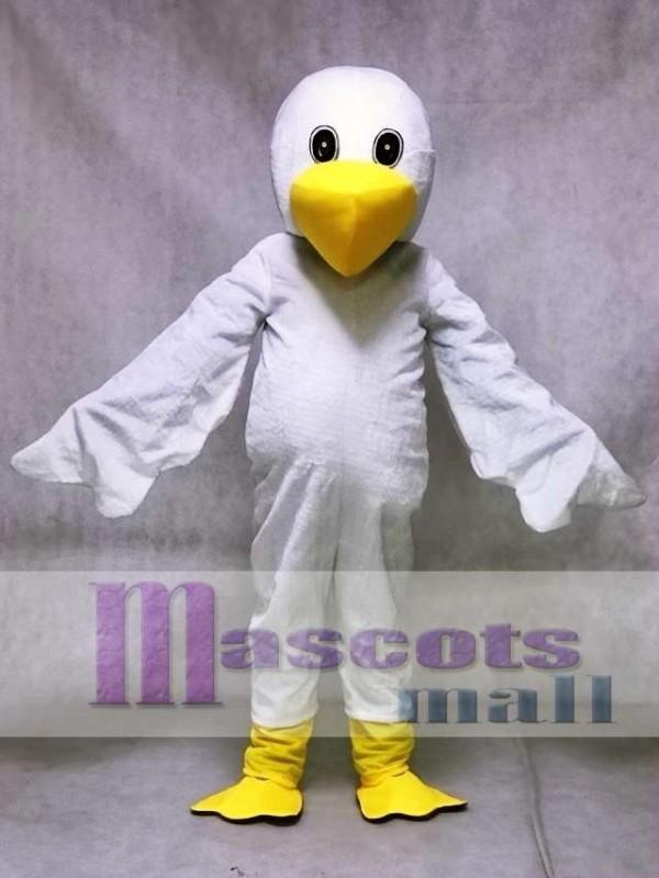 White Cartoon Pelican Bird Mascot Costume Animal
