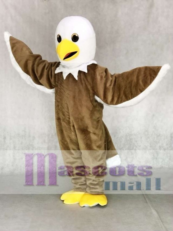 Cute Friendly Light Brown Eagle Mascot Costume
