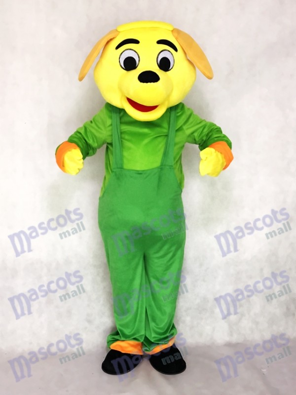 Yellow Dog with Green Overalls Mascot Costume