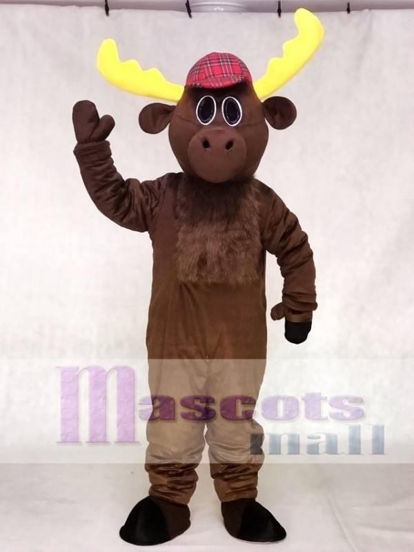 Cute Dark Brown Hunter Moose with Hat Mascot Costumes Animal