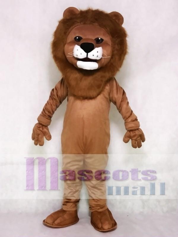 Realistic Animal Friendly Smiling Lion Mascot Costume
