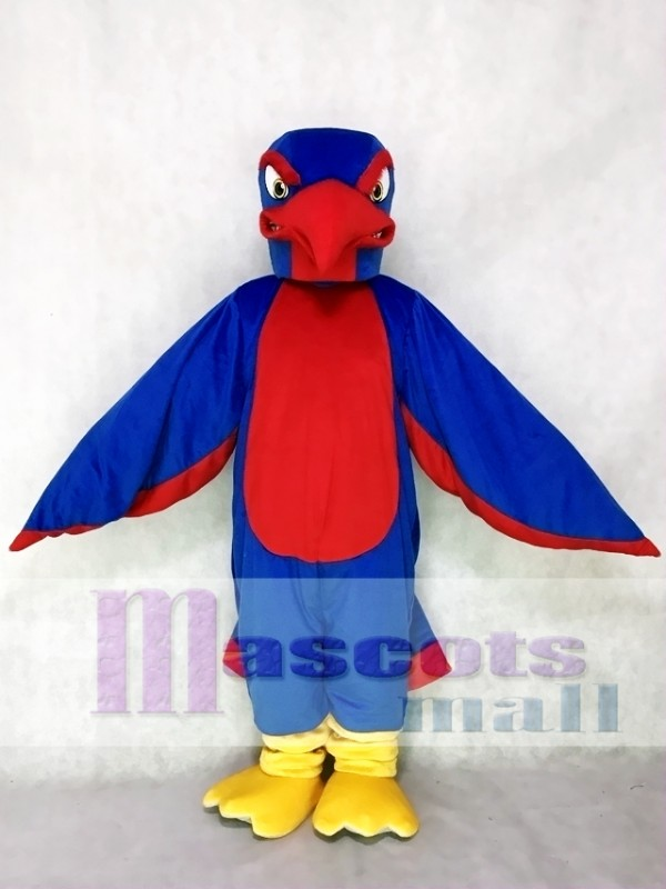 Fierce Royal Blue and Red Falcon Mascot Costume