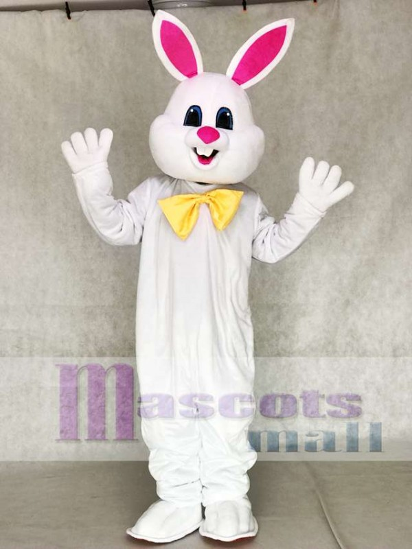 White Bunny Easter Rabbit with Yellow Bow Mascot Costumes Animal