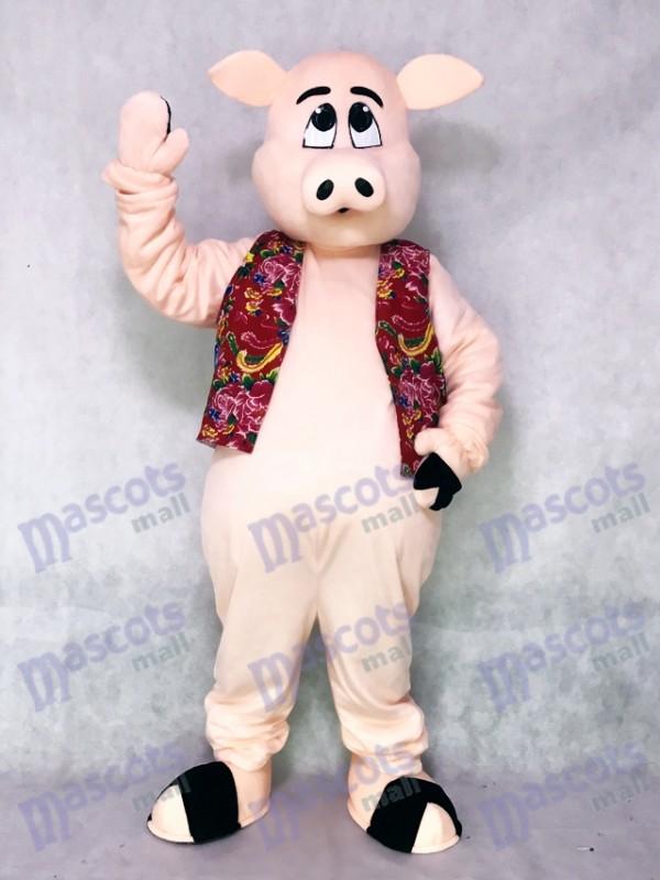 Pig Piglet Hog with Hawaiian Vest Mascot Costume