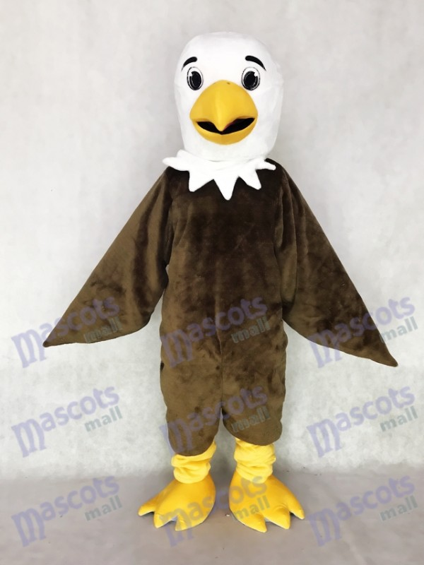 White Head Friendly Brown Eagle Mascot Costume Animal