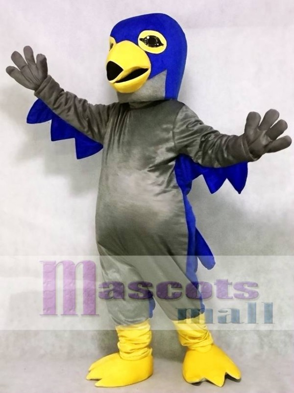 Cute Grey and Blue Hawk Mascot Costume