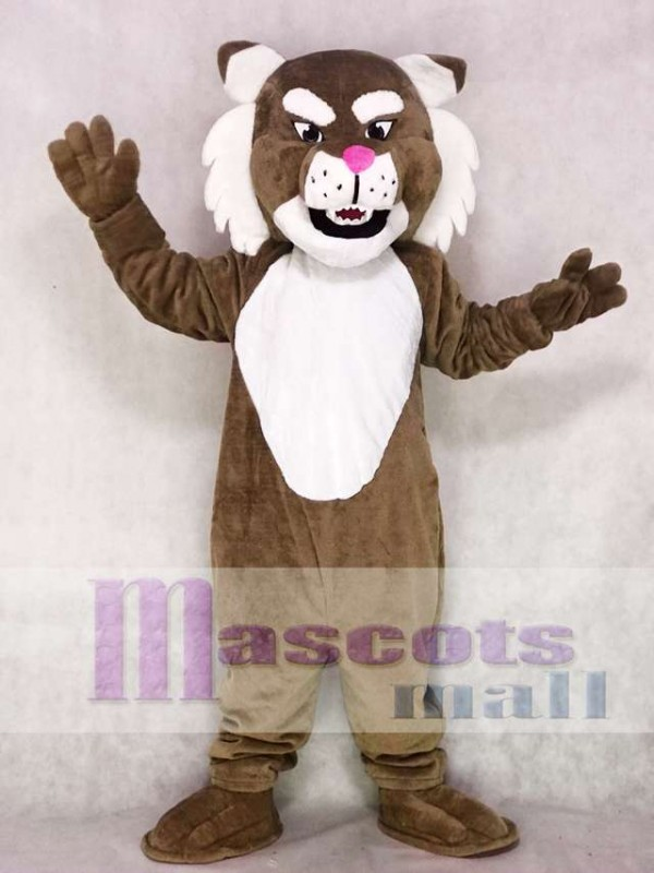 Realistic Brown Muscle Wildcat Mascot Costume