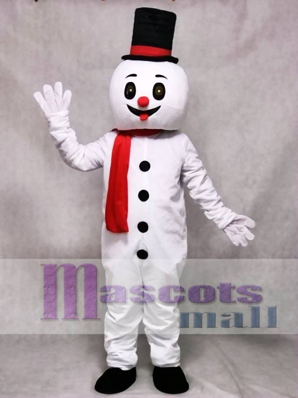 Christmas Xmas Snow Man With Hat Mascot Costume