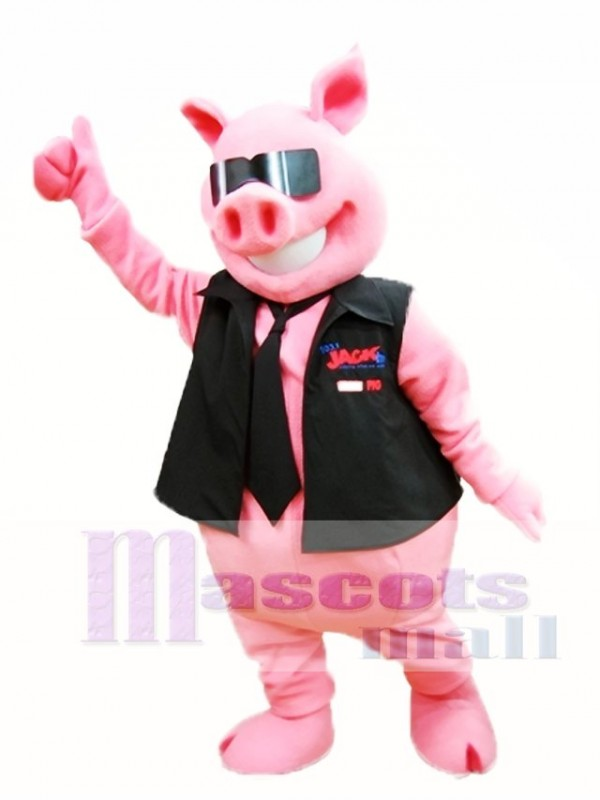Pink Pig with Vest and Tie Mascot Costume Piggy Mascot Costumes