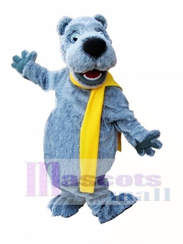 Gray Bear with Yellow Scarf Mascot Costume Grey Bear Mascot Costumes