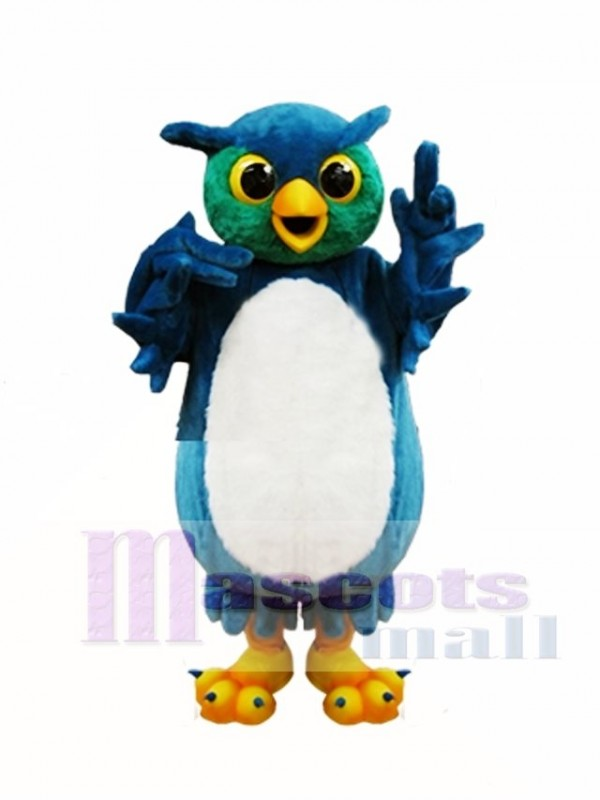 Blue and Green Owl Mascot Costume