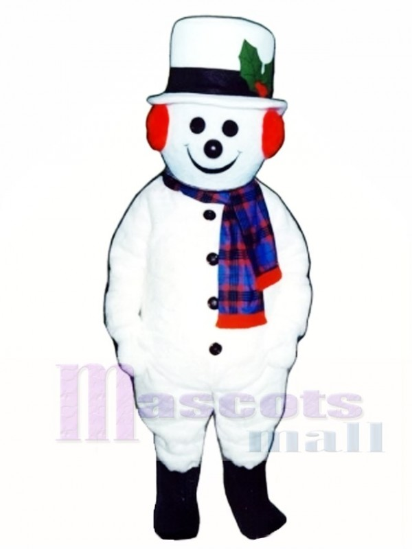 Cute Extra Round Snowman with Hat & Scarf Mascot Costume Christmas Xmas