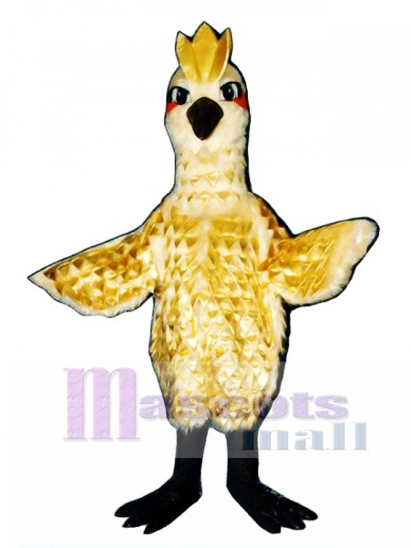 Cute Golden Phoenix with Gold Lame Feathers Mascot Costume