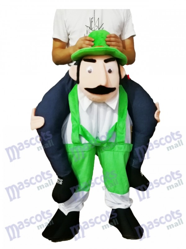 Piggyback Bearded Uncle Carry Me Ride Green Overalls Man Mascot Costume