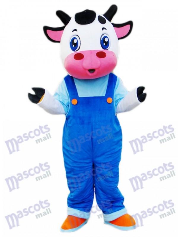 Cow in Blue Overalls Mascot Costume