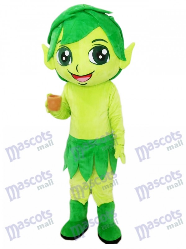 Green Elf Wizard with Leaves Mascot Costume Cartoon