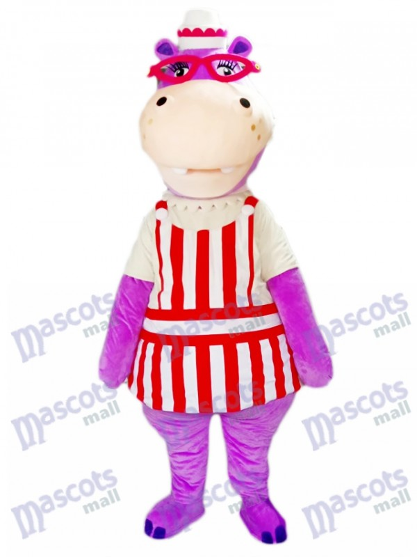 Purple Hippo Hippopotamus with Glasses Mascot Costume