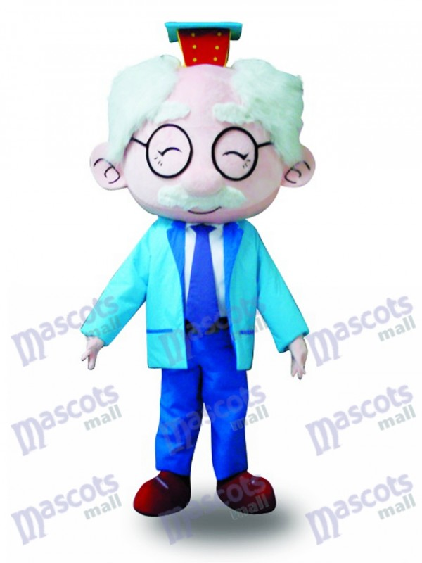 Blue Suit Glasses Old Man Mascot Costume