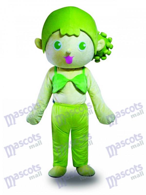 Green Hair Girl Mascot Costume Cartoon