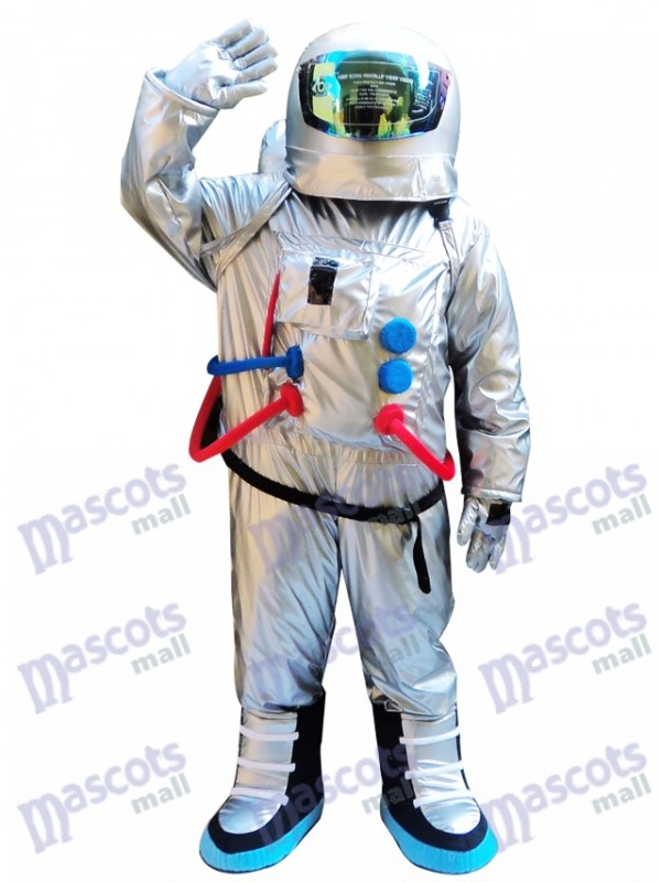 Silver Astronaut Space Suit with Backpack Mascot Costume