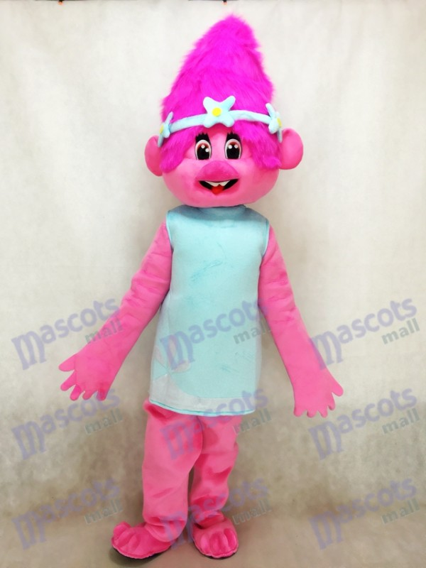 Trolls Baby Poppy Girl with Pink Hair Cartoon Mascot Costume