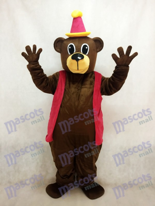 Brown Birthday Bear with Vest & Hat Mascot Costume