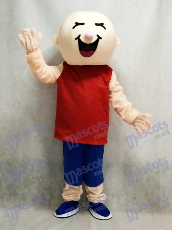 Round Head Boy in Red Vest Mascot Costume