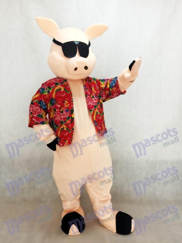 Pig Piglet Hog with Shirt & Sunglasses Mascot Costume