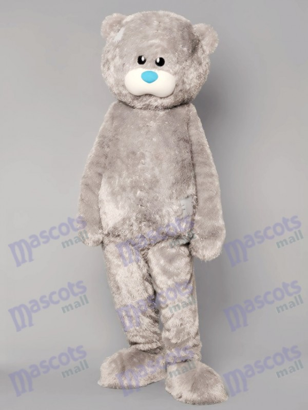 Grey Patched Cuddly Bear Mascot Costume