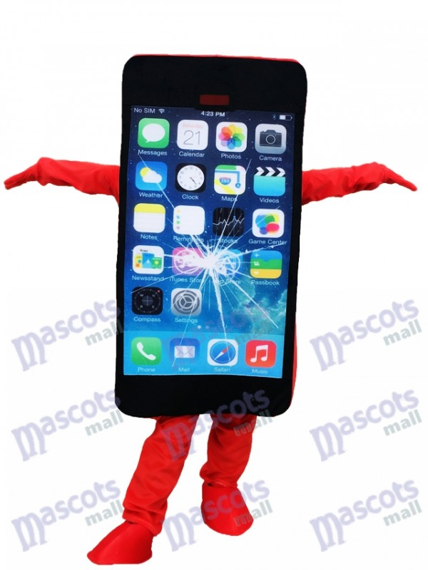 Red Cell Phone Apple iPhone with Crack Screen Mascot Costume For Promotion