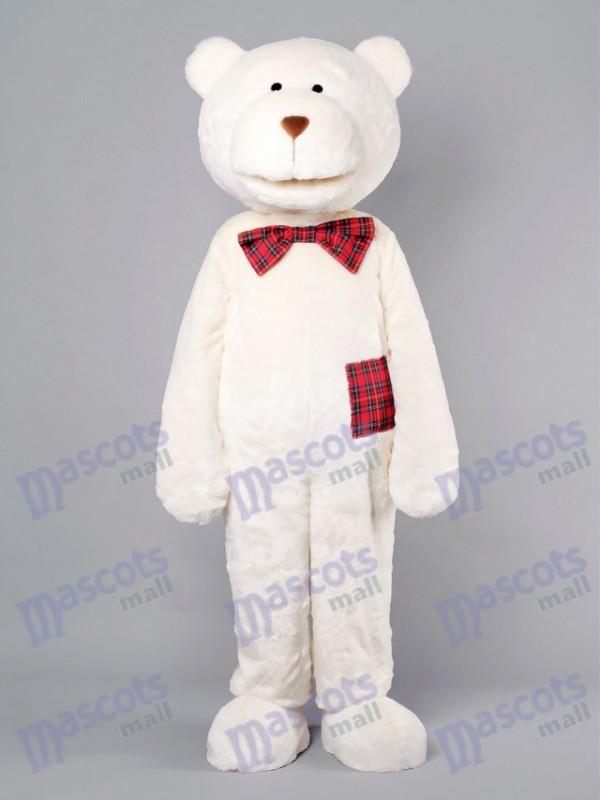 Romantic Bear With Plaid Bow Mascot Costume Animal