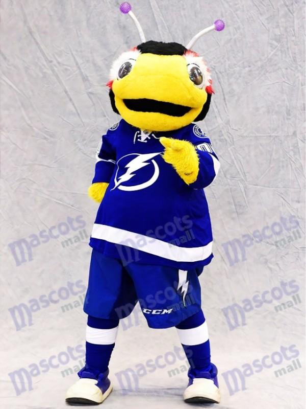 Tampa Bay Lightning Thunderbug Mascot Costume Black and Yellow Lightning Bug Insect