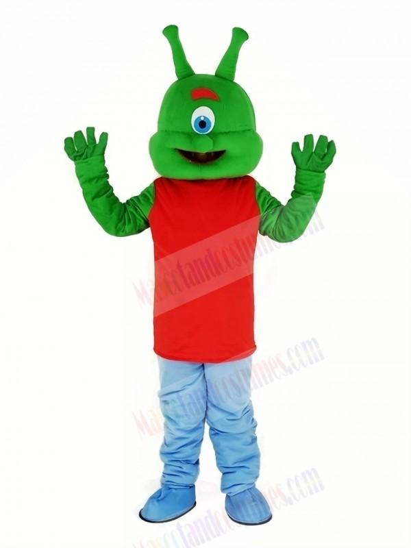 Green Alien Mascot Costume Cartoon