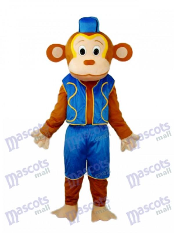 Clown Monkey in Blue Vest Mascot Adult Costume