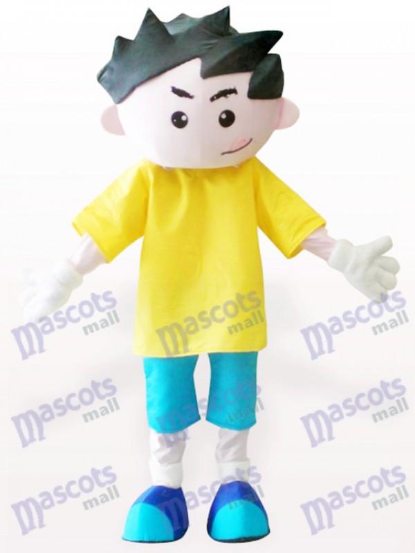 Yellow Clothes Boy Cartoon Adult Mascot Costume