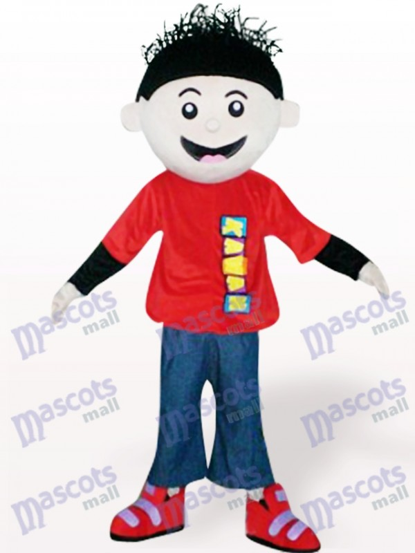 Red Boy Cartoon Adult Mascot Costume