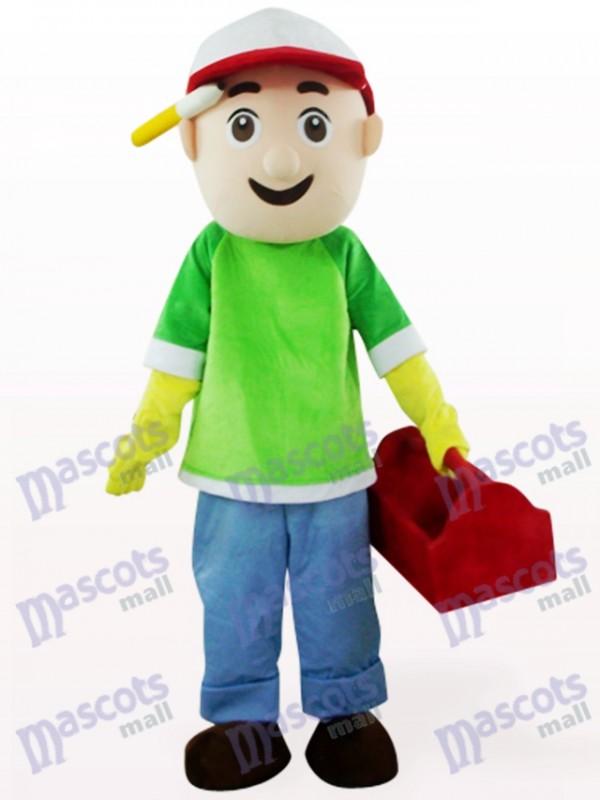 Green And Blue Vendor Boy Cartoon Mascot Costume