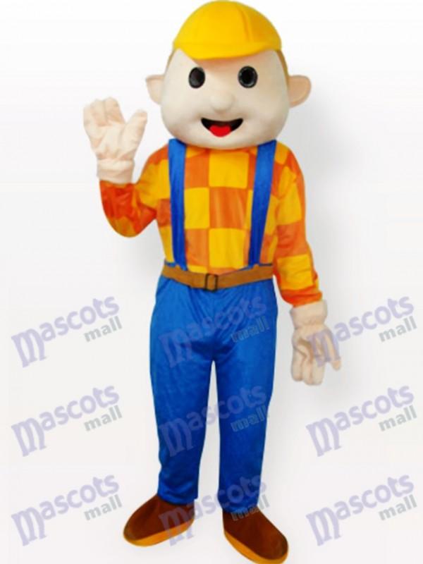 Yellow Hat Boy Cartoon Adult Mascot Costume