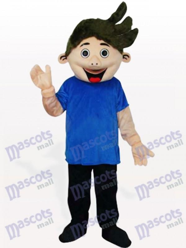 Little Boy in Blue Shirt Adult Mascot Costume