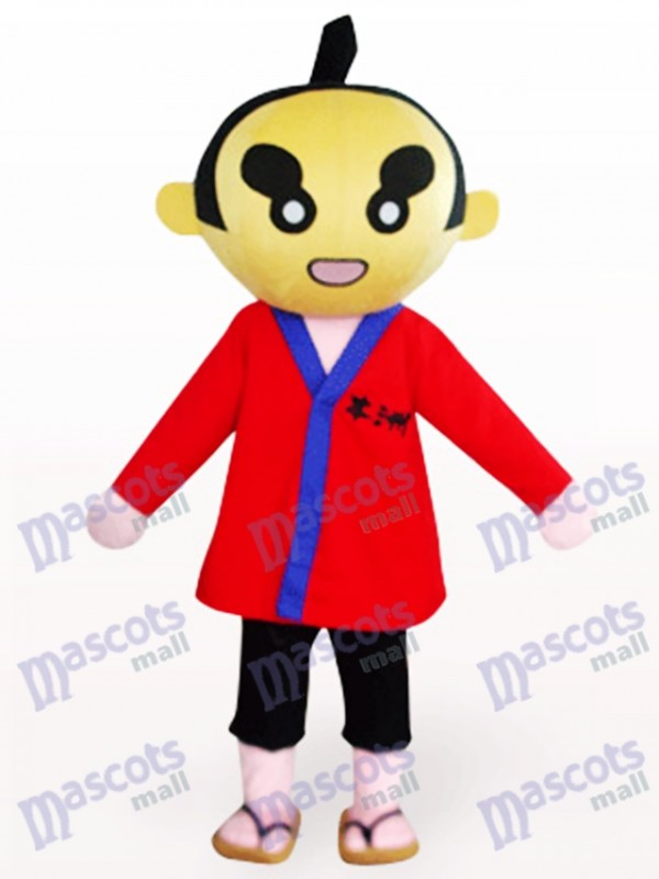 Sumoto People In Red Clothes Cartoon Mascot Costume