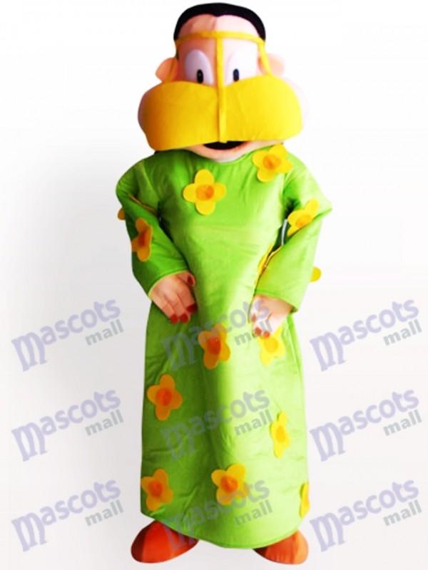 Fat Woman In Green Clothes Cartoon Adult Mascot Costume