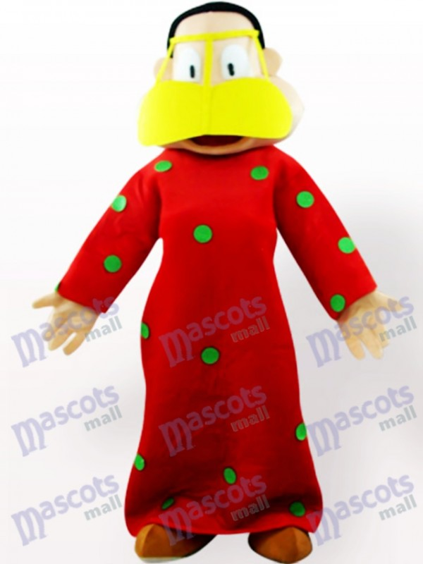 Fat Woman In Red Clothes Cartoon Adult Mascot Costume