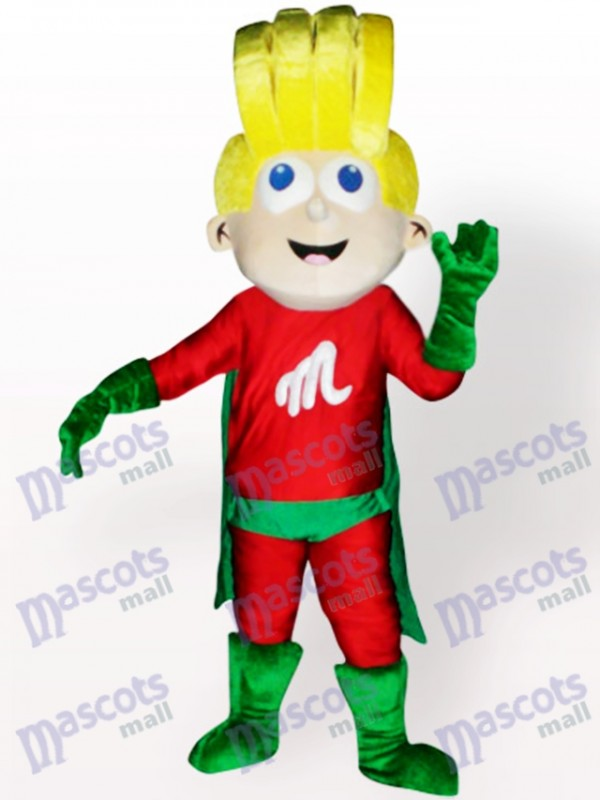 Super Boy Cartoon Adult Mascot Costume