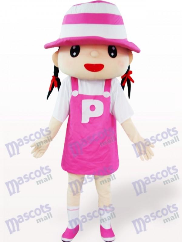 Pink Hat Girl Cartoon Adult Mascot Costume