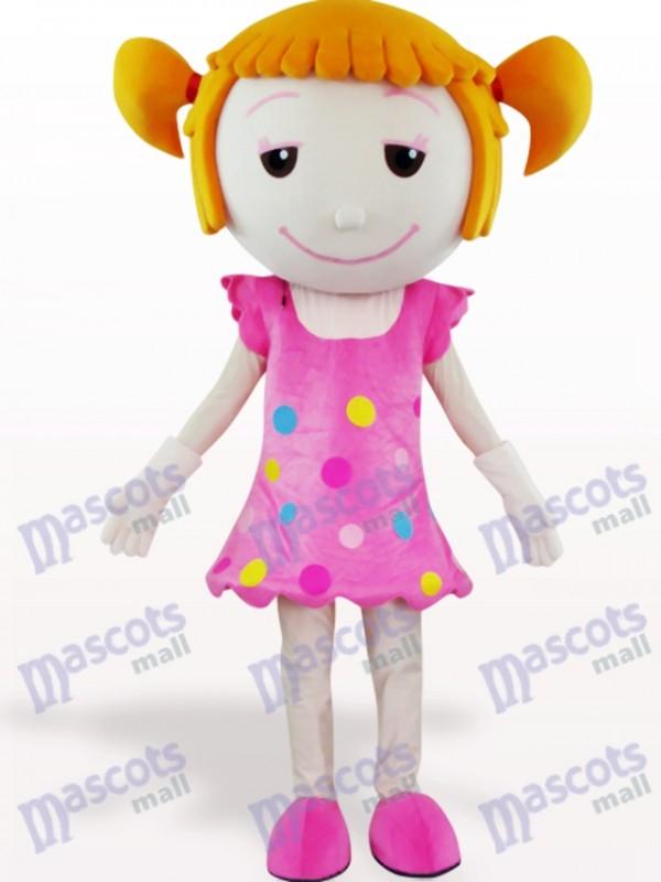 Solid Hair Girl Cartoon Adult Mascot Costume