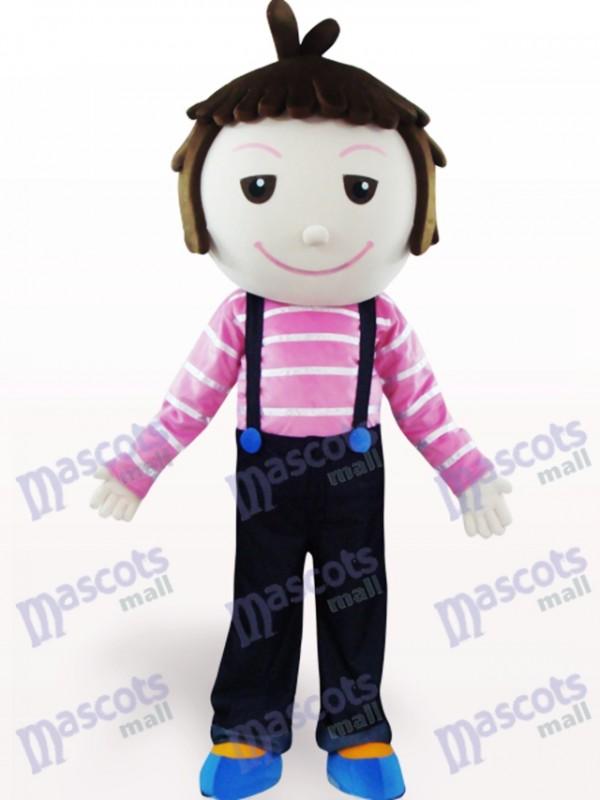 Solid Hair Boy Cartoon Adult Mascot Costume